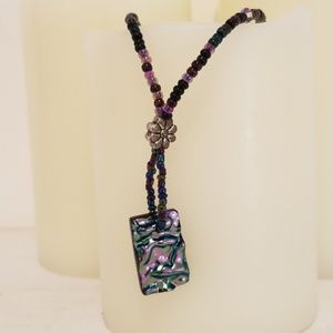 Handmade Beaded Purple Iridescent Necklace